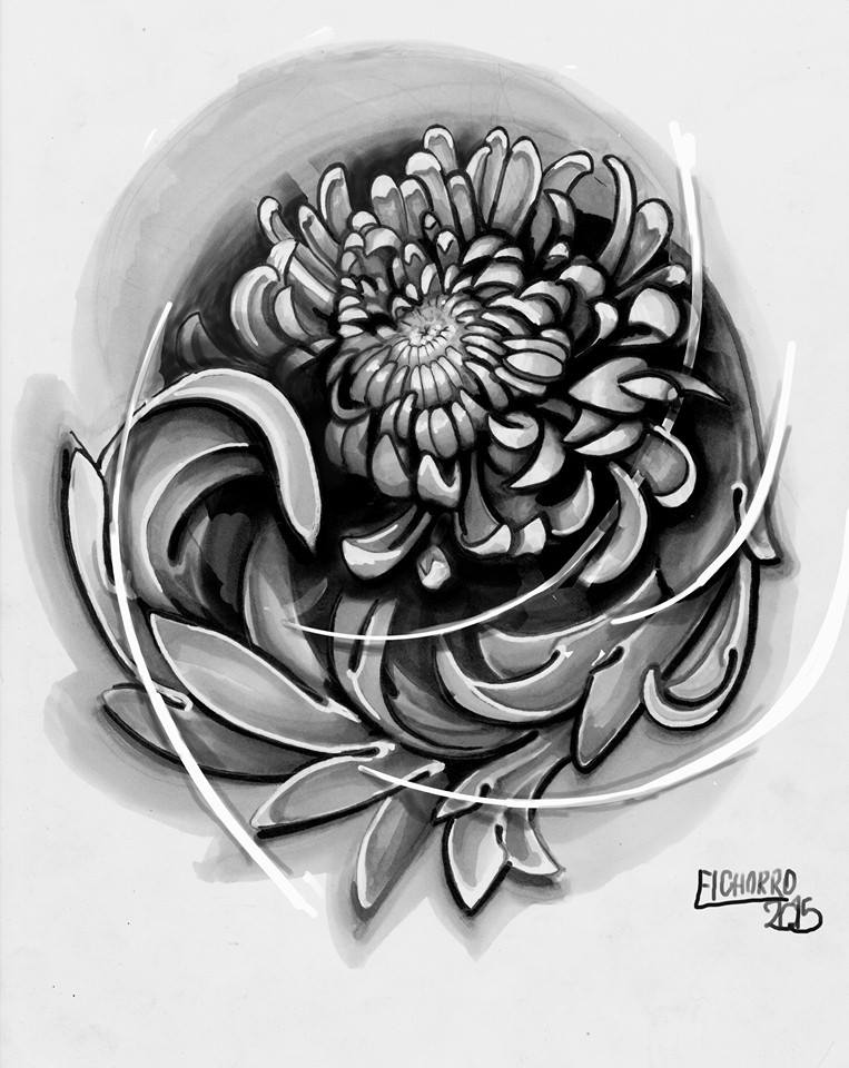 tatuadores tattoo flores filigrana palencia crisantemo tattoo