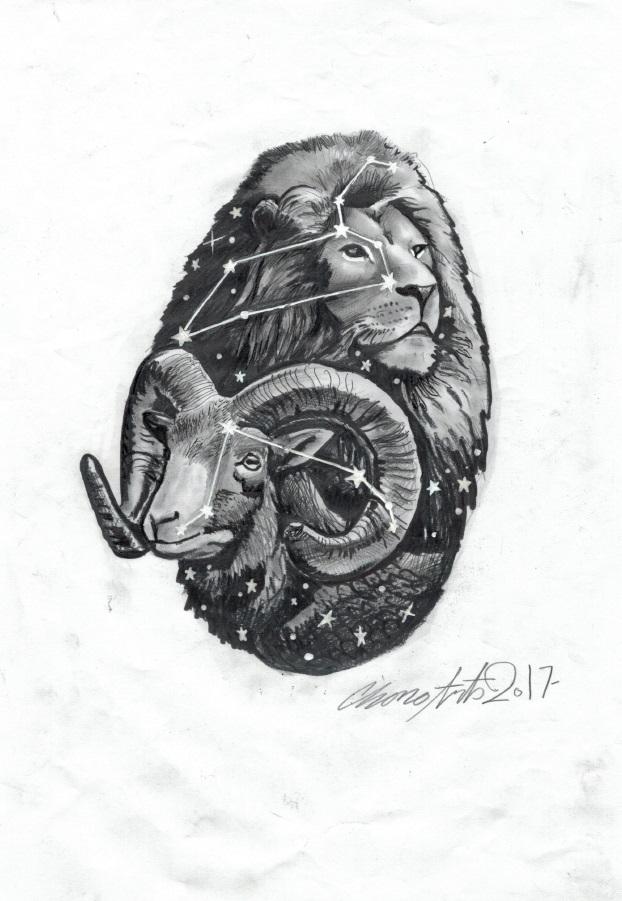 constelacion aries leo tattoo palencia tatuaje
